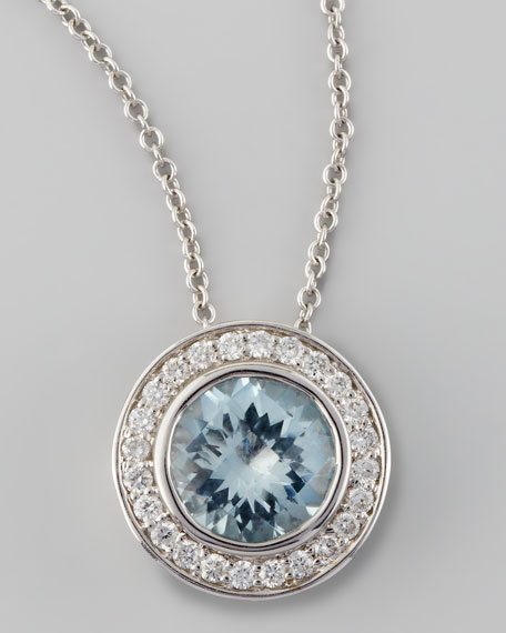 Frederic Sage Mini Aquamarine Diamond Pendant Necklace