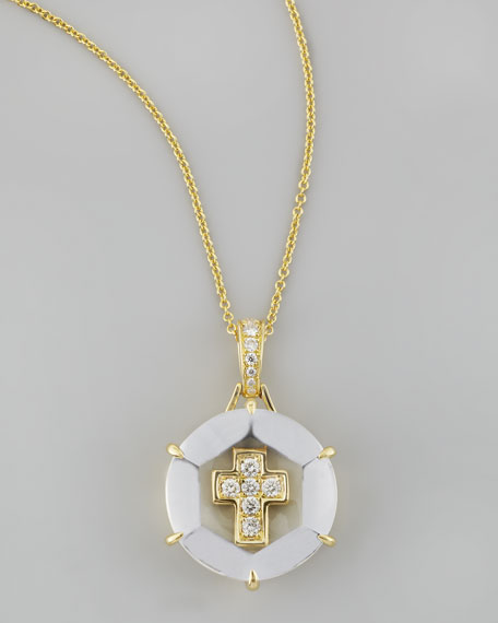 Yellow Gold Jelly Cross Pendant Necklace