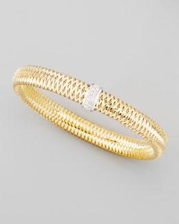 Roberto Coin Primavera 18k Medium Flat Diamond-Station Bracelet, 0.10 TCW