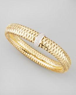 Roberto Coin Primavera 18k Large Flat Diamond-Station Bracelet, 0.25 TCW