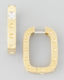 Roberto Coin Pois Moi Diamond Square Hoop Earrings, Yellow Gold