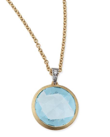 Marco Bicego Jaipur 18k Blue Topaz & Diamond Pendant Necklace KWnEES