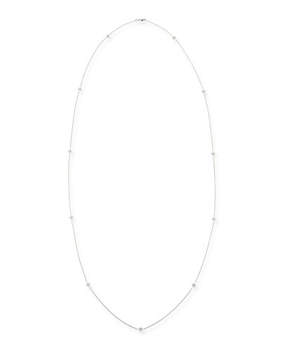 "Roberto Coin 18k White Gold Diamond-Station Necklace, 44"""