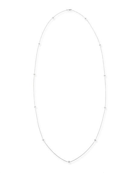 """18k White Gold Diamond-Station Necklace, 44"""""""