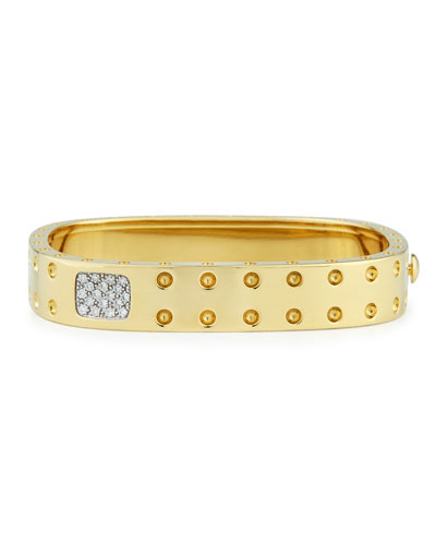 18k Yellow Gold Pois Moi Two-Row Diamond Bangle