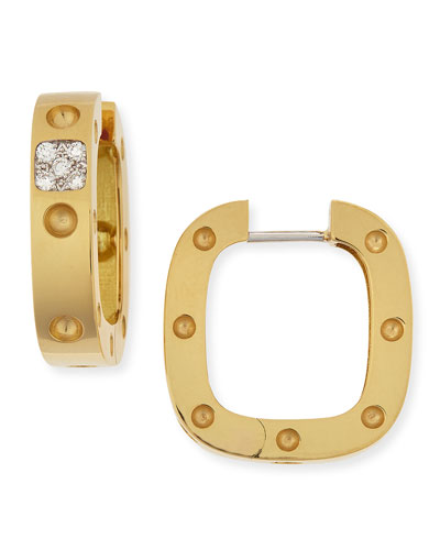 18k Yellow Gold Pois Moi Square Earrings with Diamonds