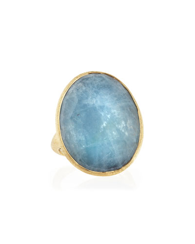 18k Gold Oval Aquamarine Ring