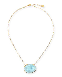 Marco Bicego 18k Gold Oval Aquamarine Pendant Necklace