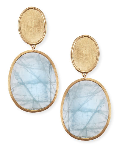 18k Gold Aquamarine Drop Earrings