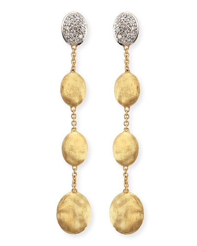 Marco Bicego Dangling 18k Gold Earrings with Diamonds