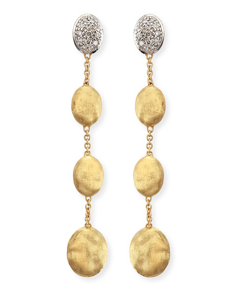 Dangling 18k Gold Earrings with Diamonds