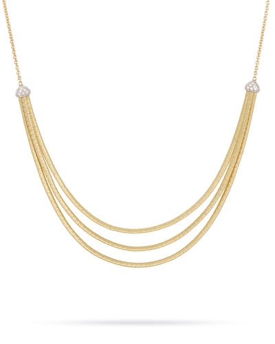 Cairo 3-Strand Bib Necklace with Diamonds