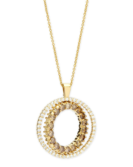 Roberto CoinDouble-Sided White & Cognac Diamond Pendant Necklace