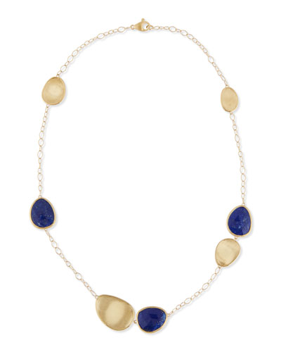 Lunaria Lapis 18k Gold Rolo Necklace