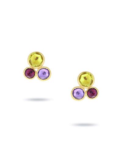 Jaipur Three-Stone Stud Earrings