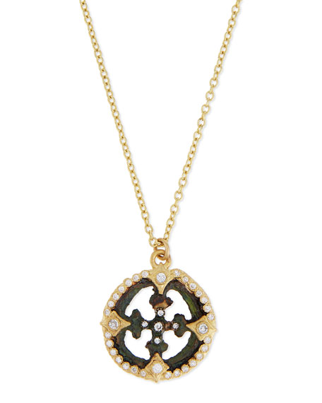 Armenta Sueño Open Cross Diamond Artifact Pendant Necklace