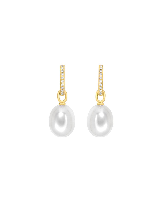 18k Yellow Gold Diamond Pearl Drop Earrings