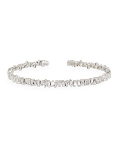 Baguette Diamond Bangle in 18K White Gold