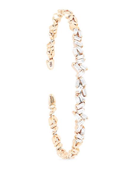 Tilted Baguette Diamond Bangle in 18K Rose Gold