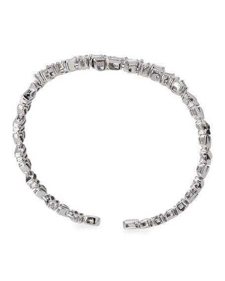 Tilted Baguette Diamond Bangle in 18K White Gold