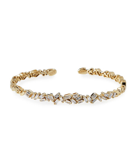 Tilted Baguette Diamond Bangle in 18K Yellow Gold
