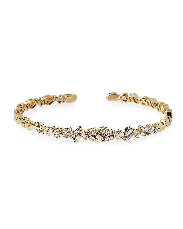 Suzanne Kalan Tilted Baguette Diamond Bangle in 18K Rose Gold 6z0vFy