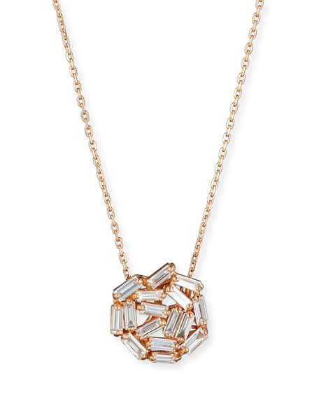 Fireworks Baguette Diamond Pendant Necklace in 18k Rose Gold