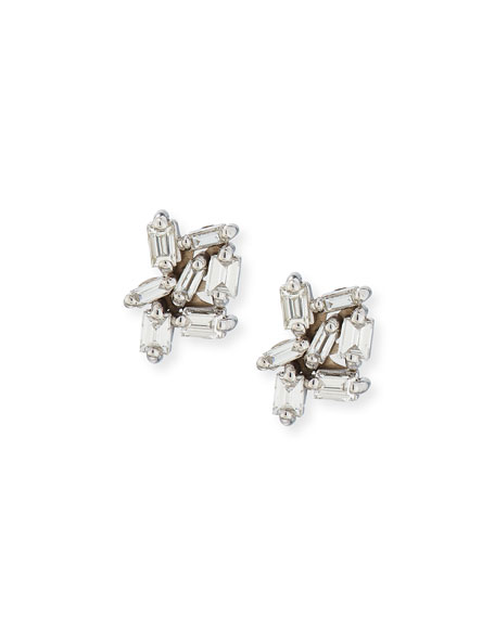 Small White Baguette Diamond Cluster Earrings in 18K White Gold