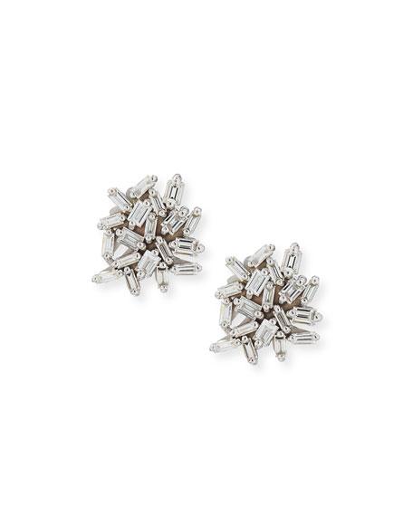 White Baguette Diamond Cluster Earrings in 18K White Gold
