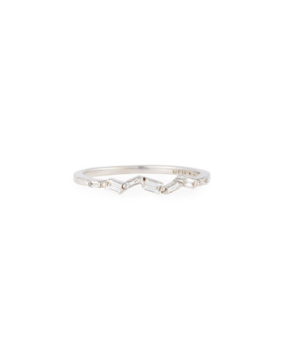 Fireworks Thin Baguette Band Ring in 18k White Gold, Size 6.5