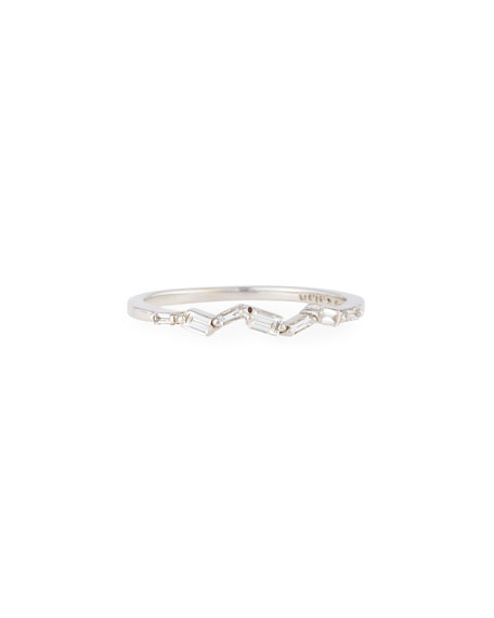 Suzanne Kalan 18K White Gold and diamond Baguette Thin Band Ajf66Sy