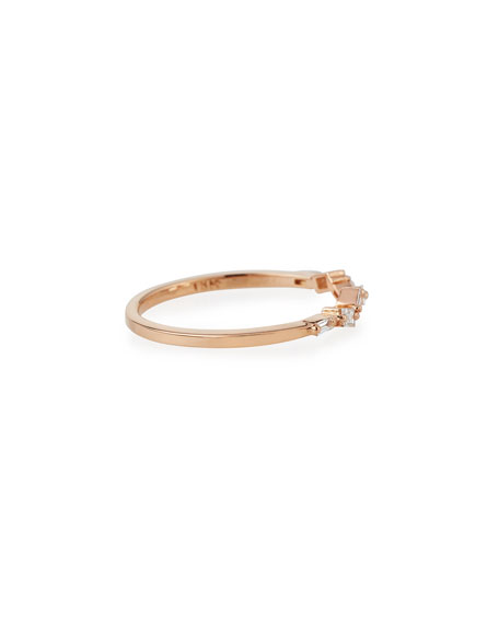 Fireworks Thin Baguette Band Ring in 18k Rose Gold, Size 6.5
