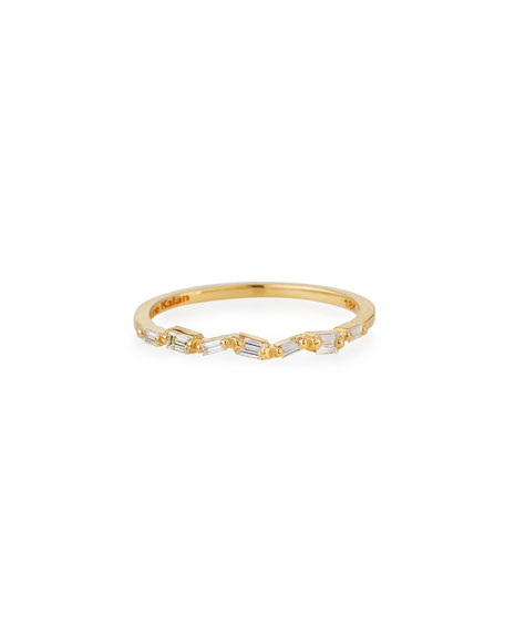 Fireworks Thin Baguette Band Ring in 18k Yellow Gold, Size 6.5