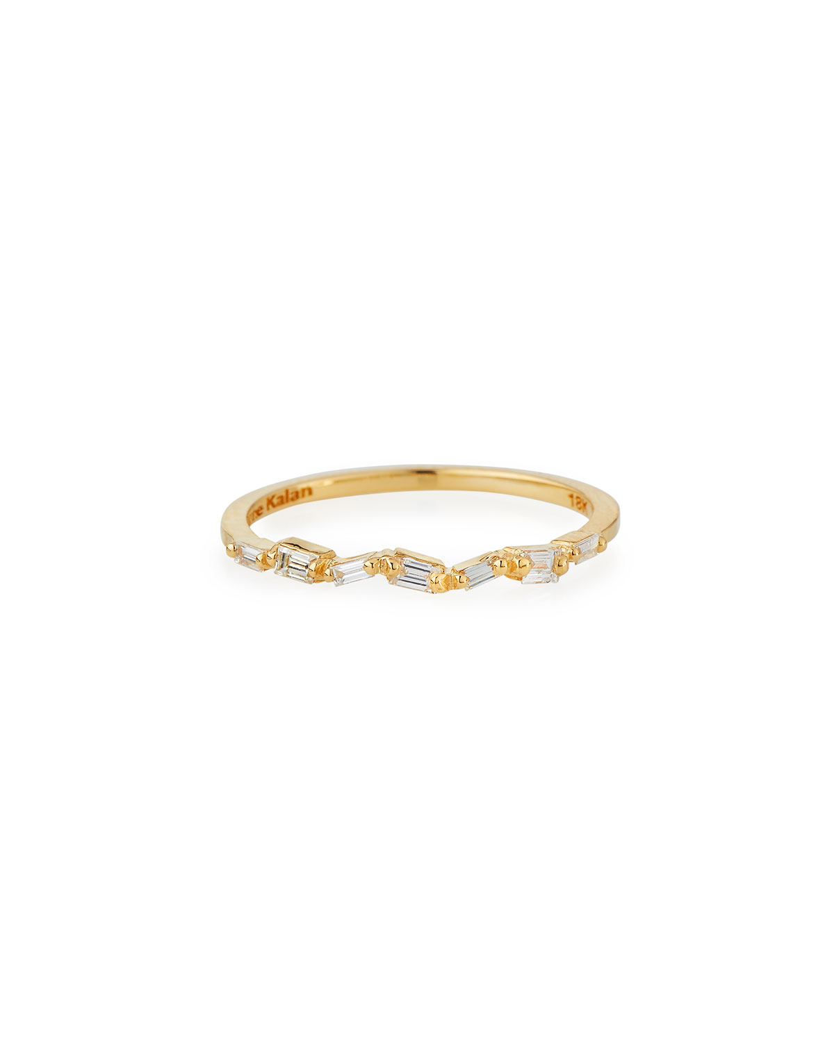 Suzanne Kalan 18K White Gold and diamond Baguette Thin Band Outlet Store kaPD5K7
