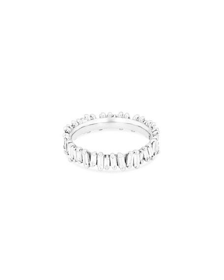 Fireworks Diamond Baguette Eternity Ring in 18k White Gold, Size 6.5