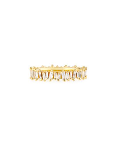 Fireworks Diamond Baguette Eternity Ring in 18k Yellow Gold, Size 6.5