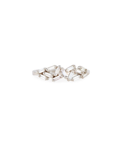 Fireworks 5mm Baguette Cluster Ring in 18k White Gold, Size 6.5