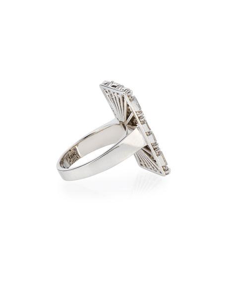 Fireworks Diamond Baguette Cluster Ring in 18k White Gold, Size 6.5