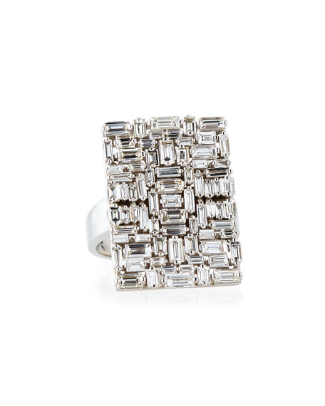 Fireworks Diamond Baguette Cluster Ring in 18k White Gold, Size 6.5