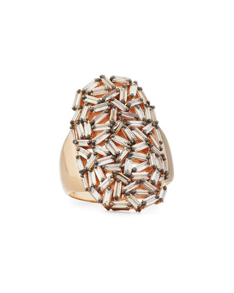 Champagne Diamond Baguette Cluster Statement Ring in 18K Rose Gold, Size 6.5