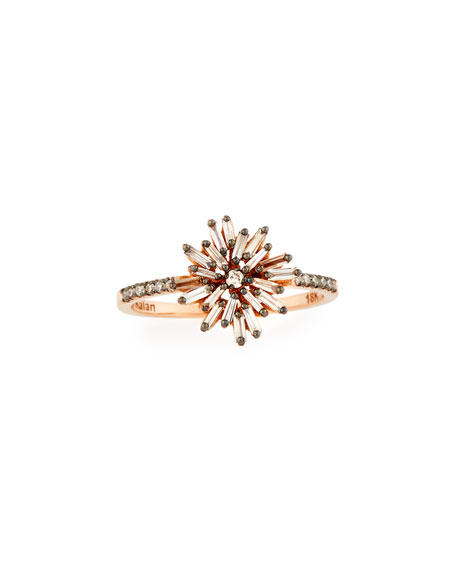 Baguette Diamond Starburst Ring in 18K Rose Gold, Size 6.5