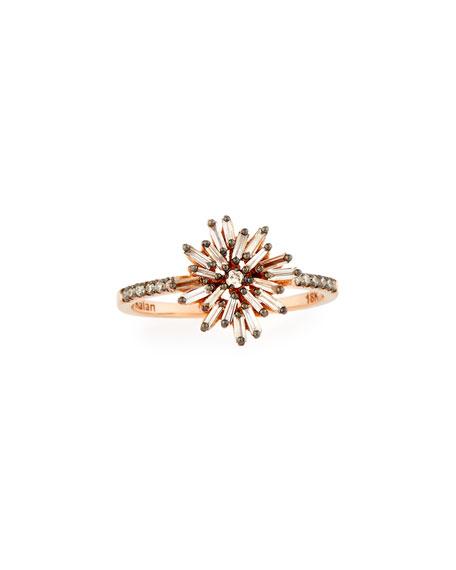 Baguette Diamond Starburst Ring in 18K Rose Gold, Size 6.5