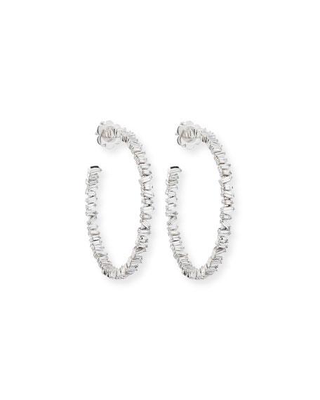 Fireworks Baguette Diamond Hoop Earrings