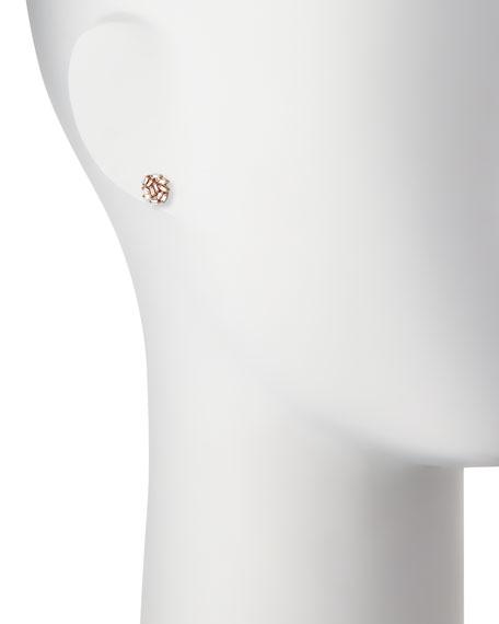 Diamond Baguette Cluster Earrings in 18k Rose Gold