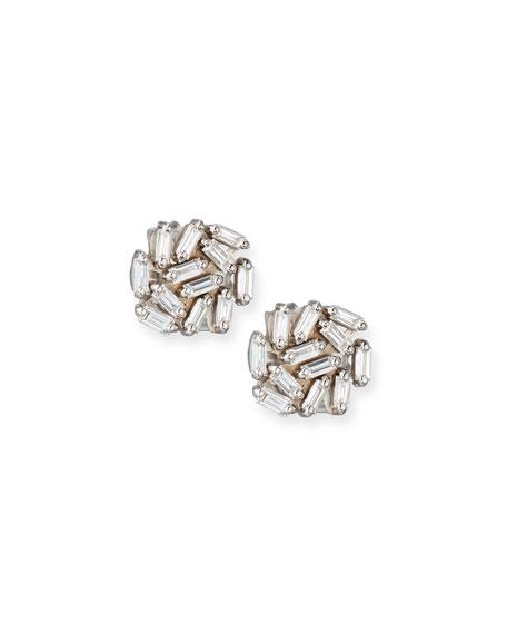 Diamond Baguette Cluster Earrings in 18k White Gold