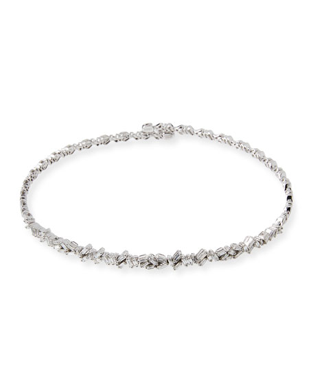 18K White Gold Diamond Baguette Choker Necklace, 2.25 tdcw