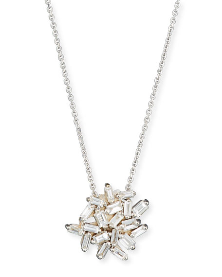 Fireworks Baguette Diamond Pendant Necklace in 18k White Gold
