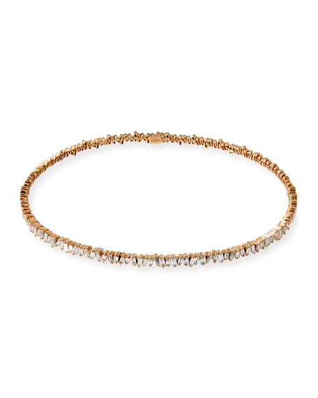 18K Rose Gold Diamond Baguette Choker Necklace, 3.0 tdcw