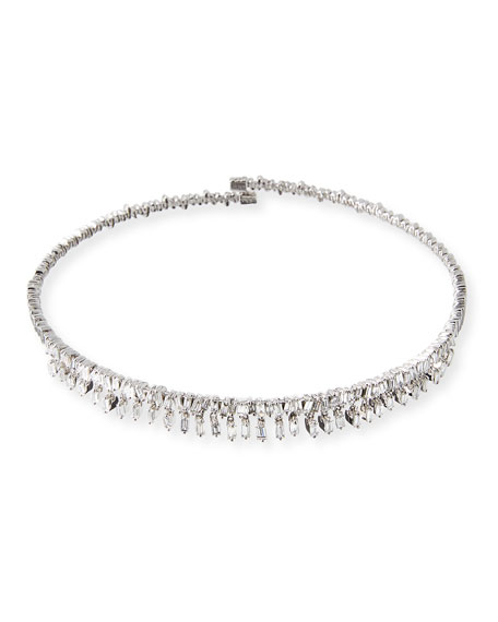 Dangling Baguette Diamond Collar Necklace in 18K White Gold