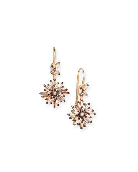 Diamond Baguette Starburst Drop Earrings in 18K Rose Gold